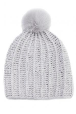 Шапка из шерсти с отделкой меха песца 124559 Mkc. Цвет: серый