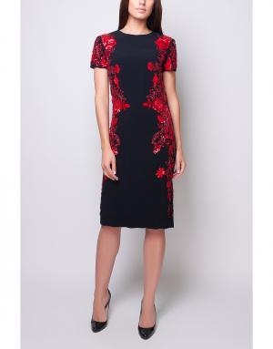 Платье-футляр Reem Acra. Цвет: черный, красный