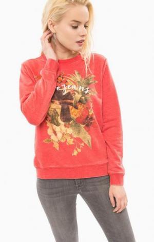 Свитшот красного цвета с цветочным принтом Pepe Jeans. Цвет: цветочный принт