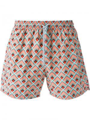 Плавательные шорты с геометрическим узором Capricode. Цвет: многоцветный