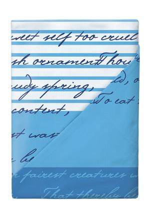 Комплект постельного белья Евро Loveme. Цвет: синий