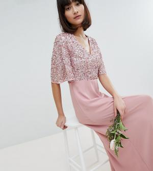 Maya Платье макси с отделкой пайетками на лифе. Цвет: розовый
