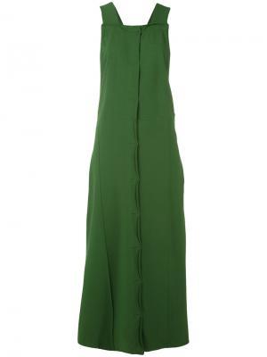 Платье длины миди на пуговицах Boboutic. Цвет: зелёный