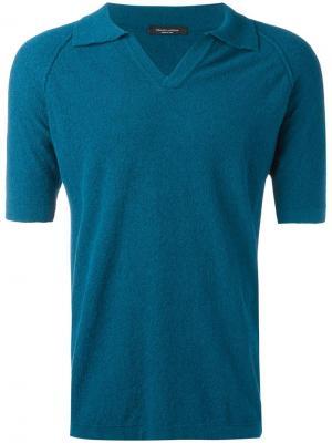 Рубашка-поло Teddy Roberto Collina. Цвет: синий