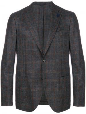Однобортный пиджак в клетку Lardini. Цвет: серый