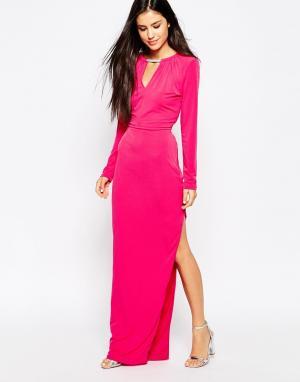 Lashes of London Платье макси с ожерельем. Цвет: розовый