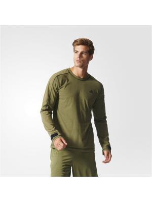 Джемпер муж. WORKOUT LONG SL Adidas. Цвет: зеленый