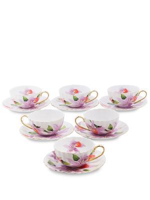 Чайный н-р на 6 перс. Фиор Элеганта (Pavone) Pavone. Цвет: белый, фиолетовый