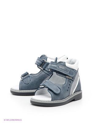 Туфли летние Детский скороход. Цвет: светло-серый, серый