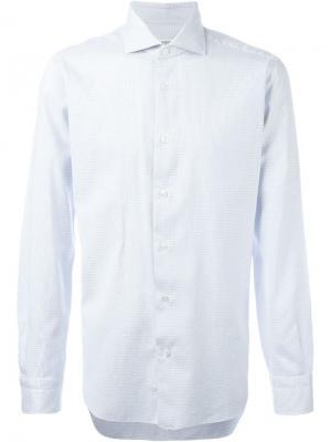 Классическая рубашка с мелким принтом Barba. Цвет: синий