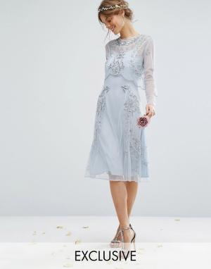 Amelia Rose Платье миди с отделкой и съемным кроп-топом. Цвет: синий