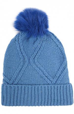 Вязаная шапка с помпоном Wildfox. Цвет: голубой