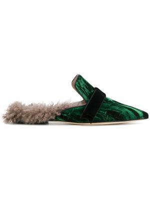 Слиперы с заостренным носком Gianna Meliani. Цвет: зелёный