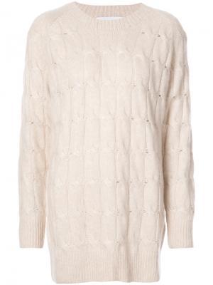 Оверсайз-свитер с узором косы Ryan Roche. Цвет: белый