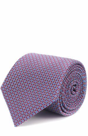 Шелковый галстук с узором Canali. Цвет: темно-фиолетовый
