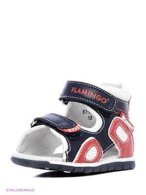 Сандалии Flamingo. Цвет: синий, белый, красный