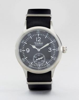 Techne Часы с черным ремешком Merlin Nato. Цвет: черный