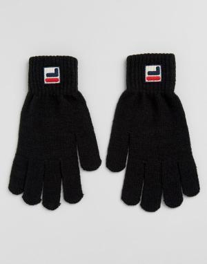 Fila Vintage Черные перчатки с маленьким логотипом. Цвет: черный