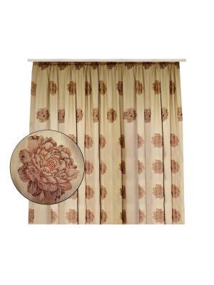 Портьера Шелк роза вышивка 350х266 см. T&I. Цвет: золотистый
