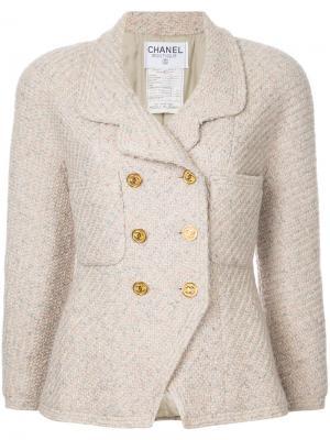 Твидовый пиджак Chanel Vintage. Цвет: коричневый