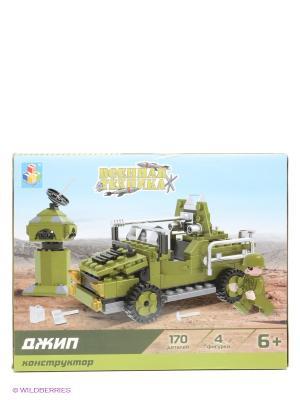Конструктор Военная техника - Джип 1Toy. Цвет: зеленый, серый, черный