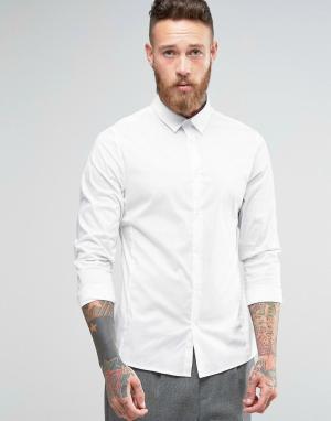 Hoxton Shirt Company Строгая рубашка узкого кроя из эластичного поплина Compan. Цвет: белый