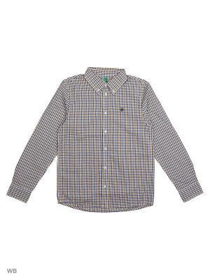 Рубашка United Colors of Benetton. Цвет: желтый, коричневый, синий