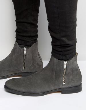 Hudson London Замшевые ботинки на молнии Mitchell. Цвет: серый