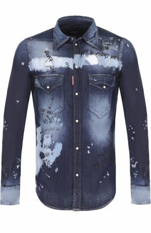 Джинсовая рубашка на кнопках с принтом Dsquared2. Цвет: синий