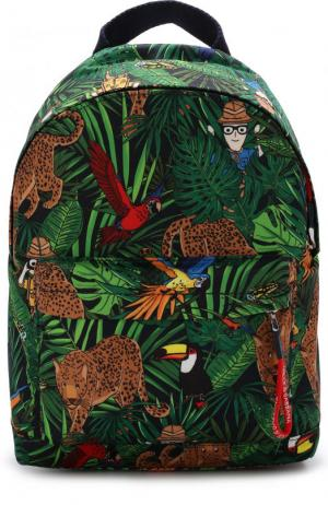 Текстильный рюкзак с принтом Dolce & Gabbana. Цвет: зеленый