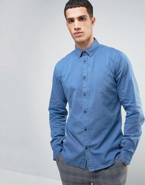 Solid Джинсовая рубашка классического кроя с эффектом выцветания. Цвет: синий