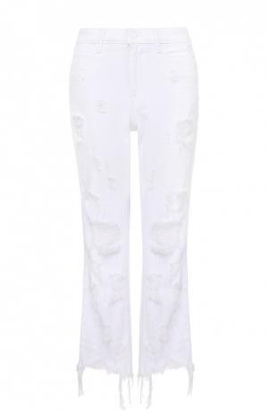 Укороченные расклешенные джинсы с потертостями и бахромой Denim X Alexander Wang. Цвет: белый