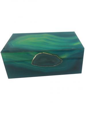 Шкатулка Зеленый агат (21x13x8см, из стекла для мелочей) Magic Home. Цвет: зеленый