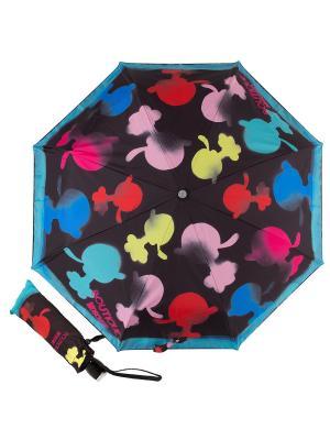 Зонт складной Moschino 7122-OCA Olivia Spray Black. Цвет: черный, желтый, красный