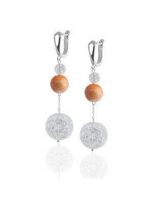 Серьги с яшмой и снежным кварцем L'ATTRICE. Цвет: прозрачный, оранжевый