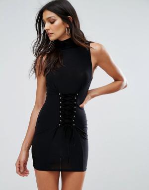 Club L Платье мини без рукавов со шнуровкой в стиле корсета. Цвет: черный