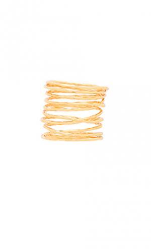 Кольцо lola gorjana. Цвет: металлический золотой