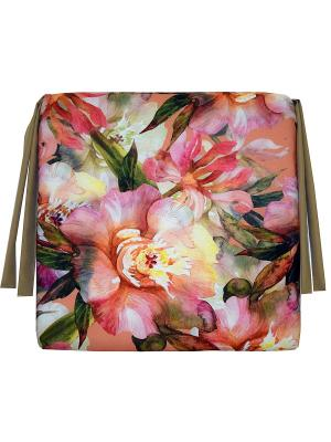 Сидушка декоративная 40*40, принт Пионы Dorothy's Нome. Цвет: розовый, персиковый, зеленый