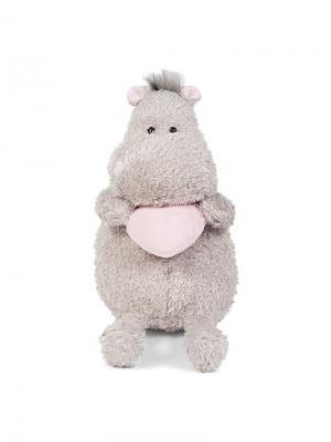 Мягкая Игрушка Бегемот с Розовым Сердцем, 20 см MAXITOYS. Цвет: серый, бледно-розовый