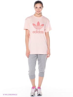 Бриджи Adidas. Цвет: серый меланж