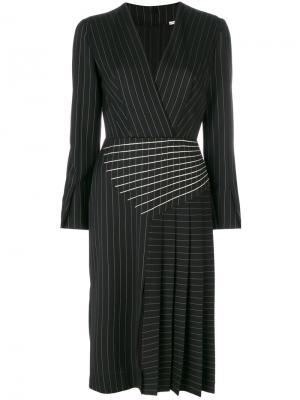 Полосатое платье с плиссировкой Marco De Vincenzo. Цвет: чёрный