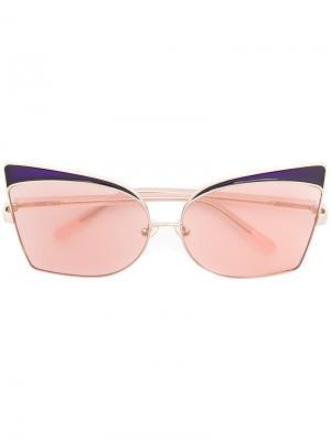 Солнцезащитные очки в объемной оправе Linda Farrow Gallery. Цвет: жёлтый и оранжевый
