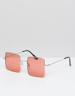 ASOS Квадратные солнцезащитные очки в золотистой оправе с розовыми стеклами. Цвет: золотой