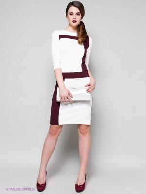 Платье Stets. Цвет: белый, бордовый