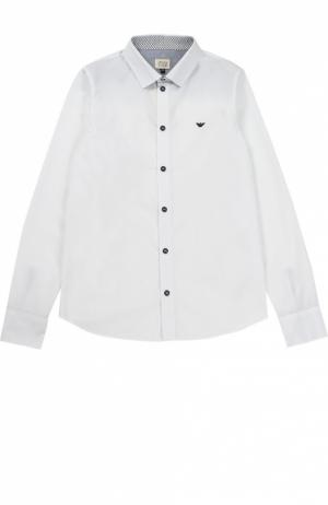 Рубашка из хлопка с логотипом бренда Giorgio Armani. Цвет: белый