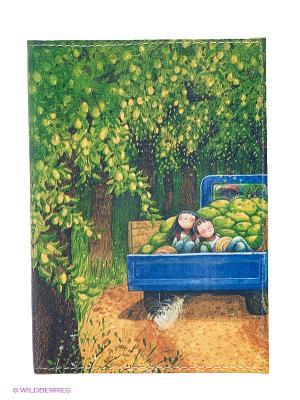 Обложка для паспорта Дети в грузовике с дынями Mitya Veselkov. Цвет: зеленый