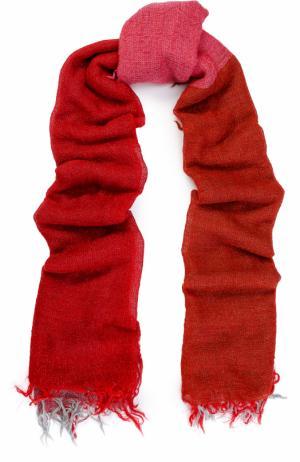 Шерстяной шарф с необработанным краем Yohji Yamamoto. Цвет: красный