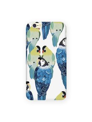 Чехол для IPhone 6 Попугаи на белом Mitya Veselkov. Цвет: белый, зеленый, голубой