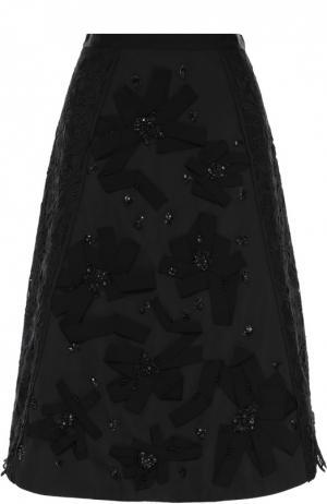 Юбка-миди А-силуэта с декоративной отделкой Oscar de la Renta. Цвет: черный