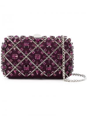 Расшитый кристаллами клатч Rodo. Цвет: розовый и фиолетовый